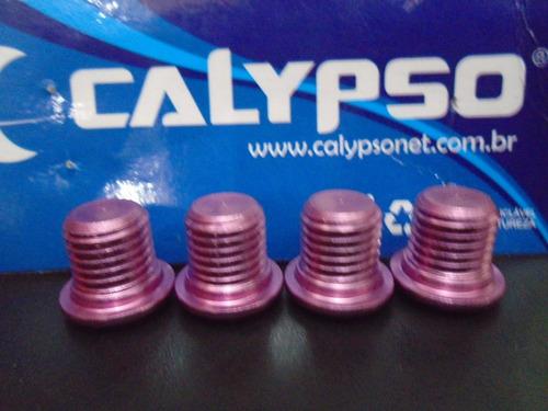 Imagem 1 de 3 de Tampa Do Pivo De Freio V-brake Rosa Claro Aluminio (4 Pçs).