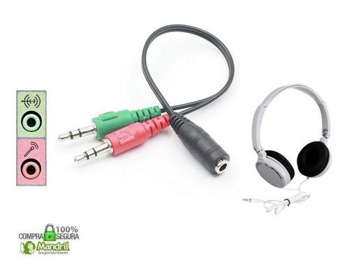Adaptador Audífono Jack 3.5m A Microfono Y Audio Pc