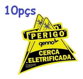 Placa Cuidado Cerca Eletrica Aviso Advertência 10pçs Genno