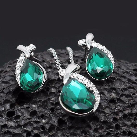 Conjunto Feminino Colar + Brinco Cristal Austríaco Verde