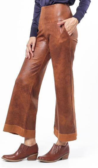 Pantalón Pata Ancha Cuero Marrón Elastizado Tiro Alto Giacca