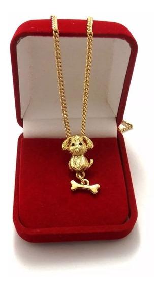 Colar Feminino Com Pingente Dog + Ossinho Banhado A Ouro
