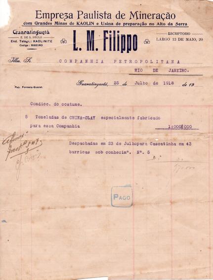 Antiguidade 1919: Empr. Paulista De Mineração Lm Filippo