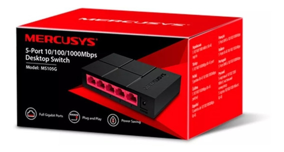 Switch 5 Puertos Mercusys 10/100/1000mbps Ms105g