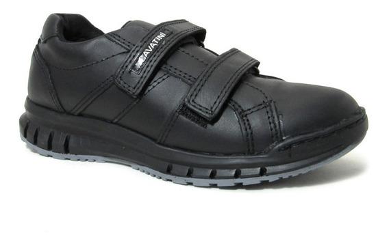 Zapatillas Colegial Cavatini Velcro Y Arco Anatómico Cuero