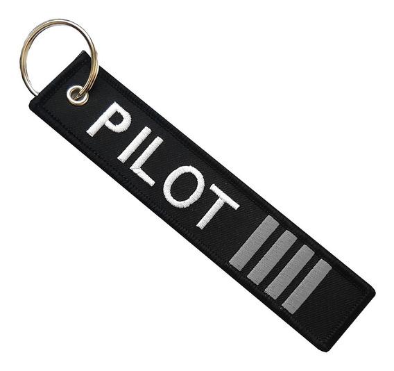 Llavero Pilot 4 Barras Gris Doble Vista Remove Before Flight