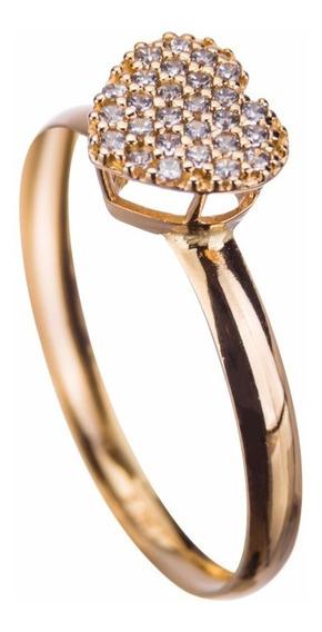 Anel Chuveiro Coração Zircônia Em Ouro 18k - 750