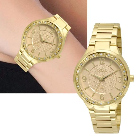 Relógio Feminino Dourado Condor Com Strass Co2035kth/4x