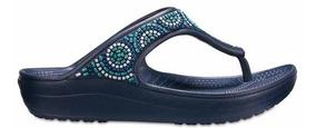 Sandalia Crocs Dama Sloane Embellished Flip-beaded Marino