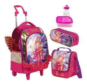 Kit Mochila Lancheira Estojo Barbie Dreamtopia Asas Infantil