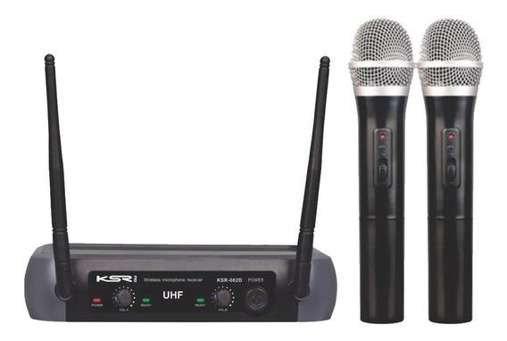 Microfone Sem Fio Duplo Ksr Uhf Mão Camera = Lyco Karsect