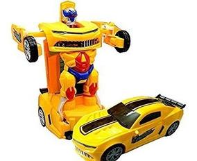 Carro Carrinho Camaro Amarelo Transforma Robo Deform C/ Luz