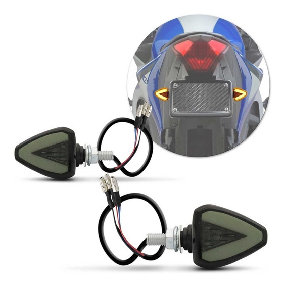 Pisca Moto Esportivo Led Tipo Seta Com Função Lanterna
