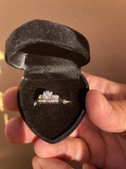 Anel De Diamantes Com Meia Aliança - Em Ouro Branco 14k
