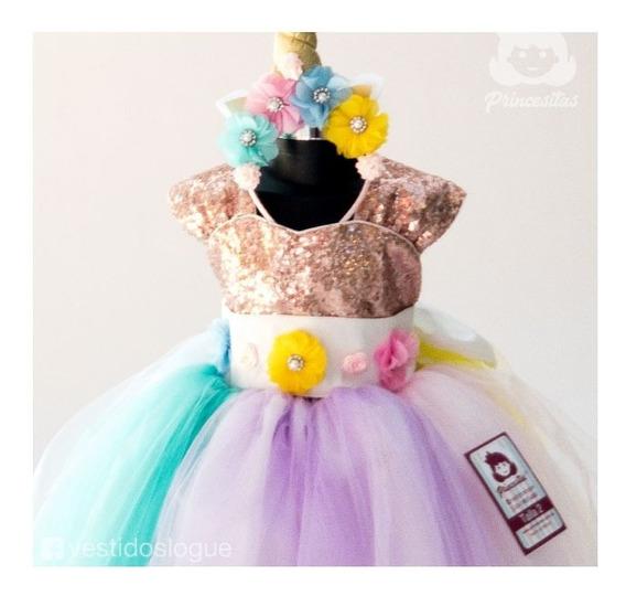 Vestido Princesa Unicornio Alta Calidad Oferta Talla 2