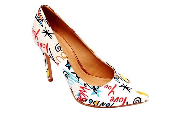 Sapato Scarpin De Bico Fino Em Couro Salto Bebe Alto Lu 4025