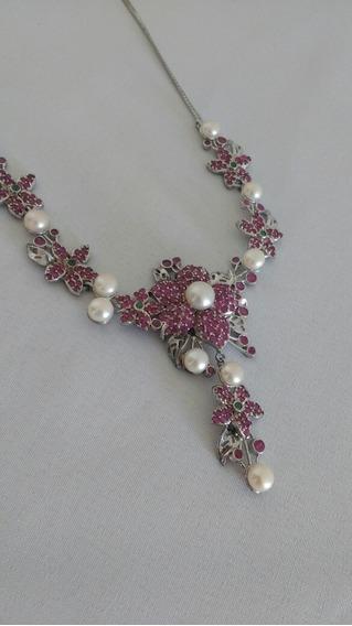 Colar Em Prata Com Rubies, Esmeraldas E Perolas