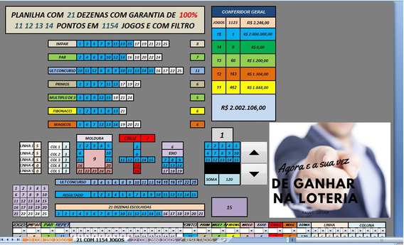 Planilha Para Lotofácil 20 21 E 22 Dezenas 100% 14 Pontos .