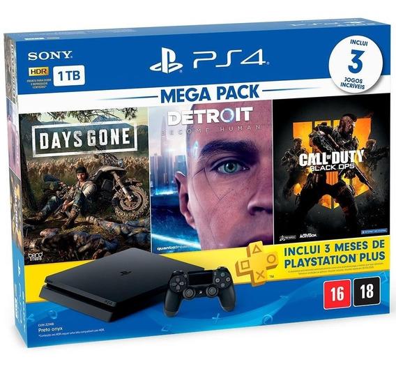 Console Playstation 4 Slim 1 Tb Ps4 Bundle 03 Jogos ( Days Gone , Detroit E Black Ops 4 ) + Plus 3 Meses Lacrado Nf-e