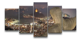 Quadro Decorativo 129x63 Sala Quarto Cristo Rio De Janeiro