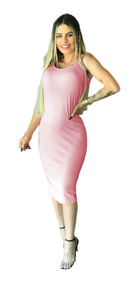 Vestido Feminino Alça Midi Justo Tubinho Moda Blogueira R.9b