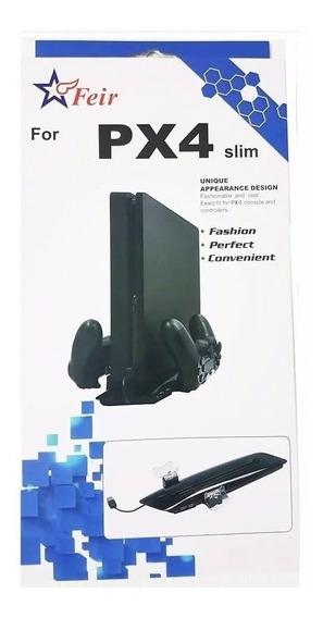 Suporte Ps4 Slim Base C/cooler Carregador P/2 Controles