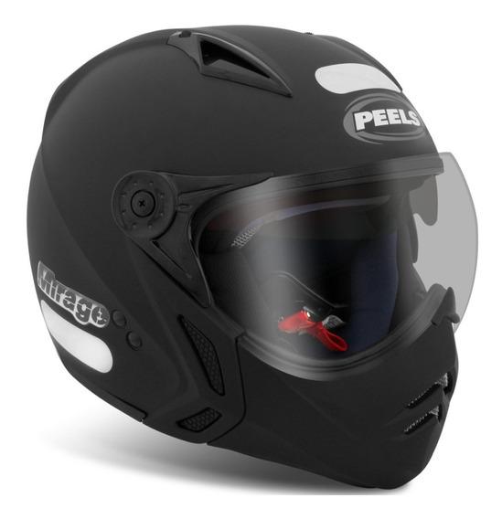 Capacete Peels Mirage Classic Preto Fosco F21 Com Óculos