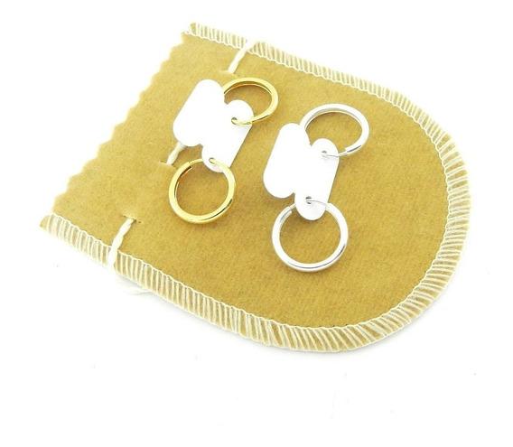 Brinco Masculino 15mm 2 Pares Folheado Ouro/prata Br253