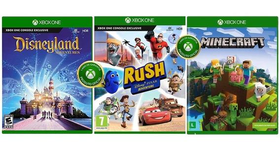 Kit Game 03 Jogos Xbox One - Rush + Minecraft + Disneylandia