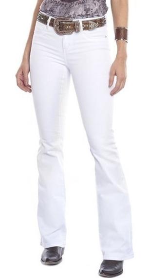 Calça Jeans Country Feminina Tassa Branca Tradicional Flare