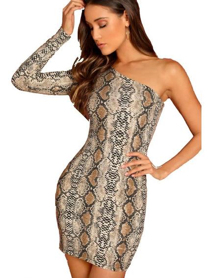 Vestido De Fiesta Mujer Ajustado Con Patrón De Serpiente