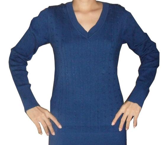 Suéter Tipo Cárdigan Tejido Azul Marino