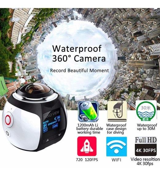 Filmadora Câmera Panoramica 360° 4k + Bateria Extra + Case