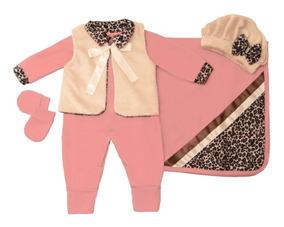 6 Kit Saída De Maternidade Bebê Menina Oncinhas