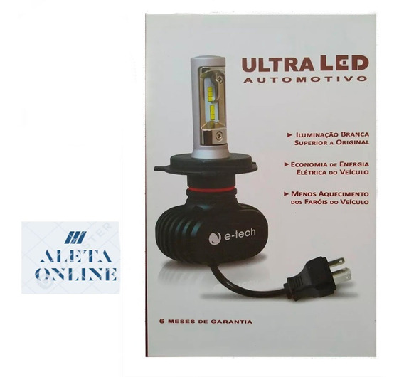 Kit Lampada Led Ultra Led E-tech Encaixe H7 8000k 12000lumen