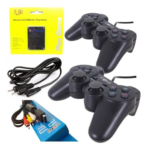 Kit Ps2 Slim Cabo Av+ 2 Controles + Memory Card + Cabo Força