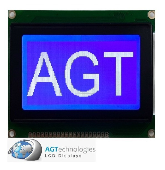 Display Lcd Gráf. 128x64 Fd. Azul/ Backlight De Leds Branco