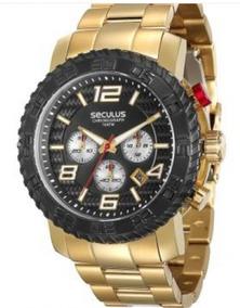 Relógio Masculino Dourado Seculus Prime 28674gpsvda1