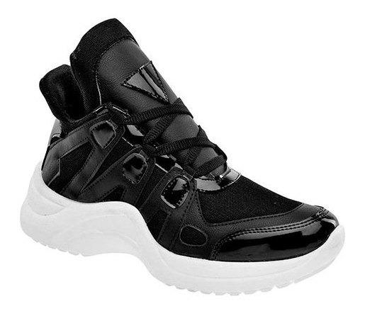 Sneaker Deportivo Mujer Ferrero Negro Sint Bota C09409 Udt