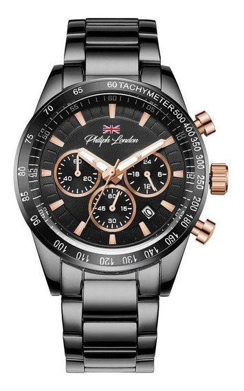Relógio Masculino Cronógrafo Preto E Rosé Pl80049613m