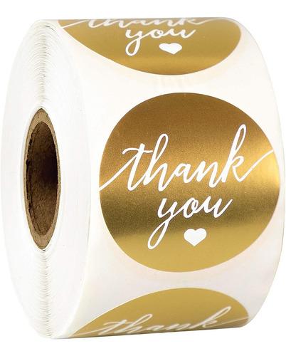 Imagen 1 de 6 de Gracias Etiqueta Adhesiva 1 5 Redonda Con Oro Y Blanco ...