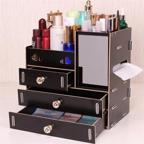 Organizador Cosmeticos Exhibidor Maquillaje Madera Espejo