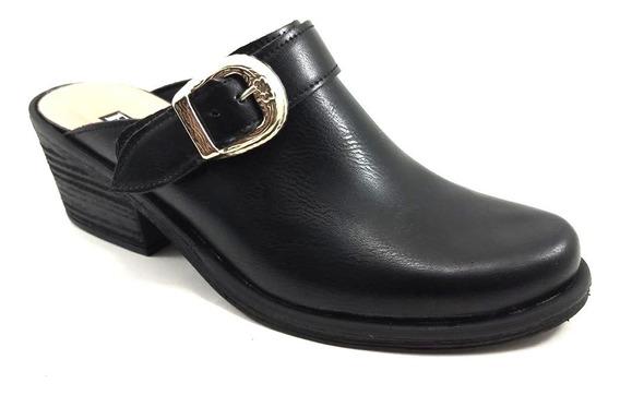 Zapato Zueco Texano Mujer Hebilla Taco 1025 Invierno 2020
