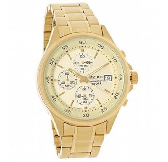 Reloj Seiko Sks482 Cronógrafo Acero Inox Fecha 100m Dorado