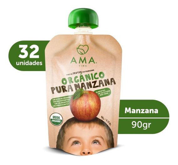 Ama Puré Manzana Orgánico 32x90grs