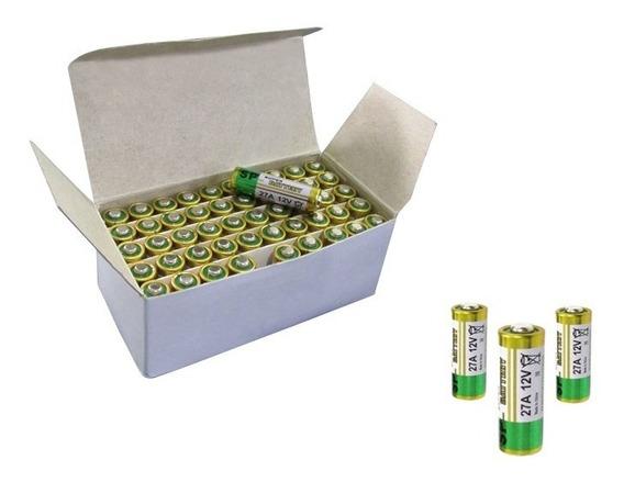 50pcs Pilha Alcalina Bateria 12v A27 Alarme Portão Fininha
