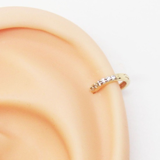 Piercing Helix Clicker Delicada 6mm Fininha Folheado A Ouro