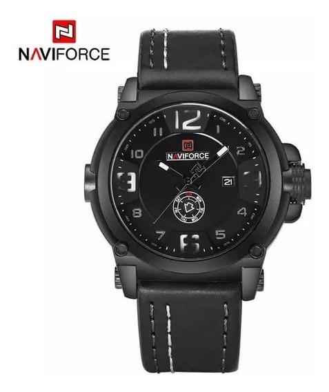 Relógio Naviforce Original Masculino Militar Esportivo Couro