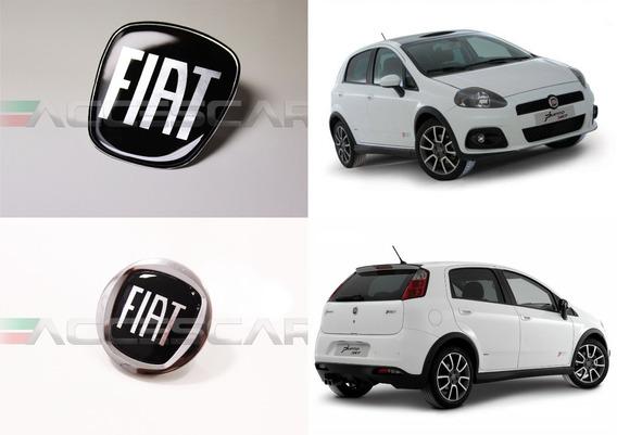 3 Adesivos Emblema Fiat Preto Black Punto 08 ( Frete Fixo )