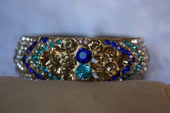Bracelete Indiano Artesanal Com Muitos Cristais 6cm Diâmetro